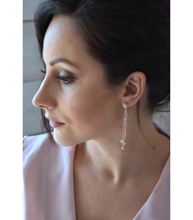 Boucles d'oreilles Blush, boucles d'oreilles pendantes pour la mariée. Réalisées en perles de cristal dans les tons de mauve et