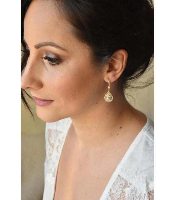 Boucles d'oreilles pour la mariée modèle Maddy avec gouttes en strass zirconium, pendantes.