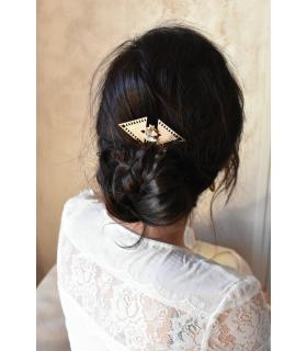 Peigne à cheveux art déco en triangles pour la mariée, modèle Faustine, avec deux cristaux Swarovski.
