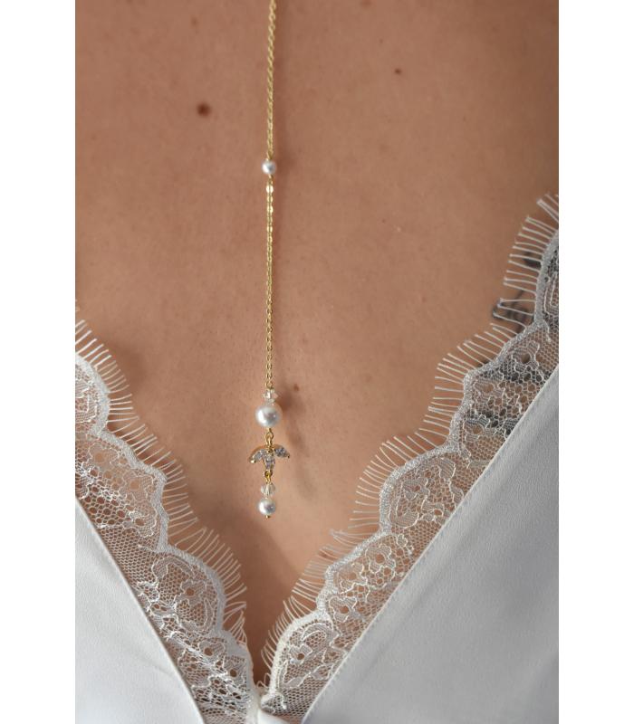 Pendentif de dos Cassandre, bijoux mariage pour robe dos nu.
