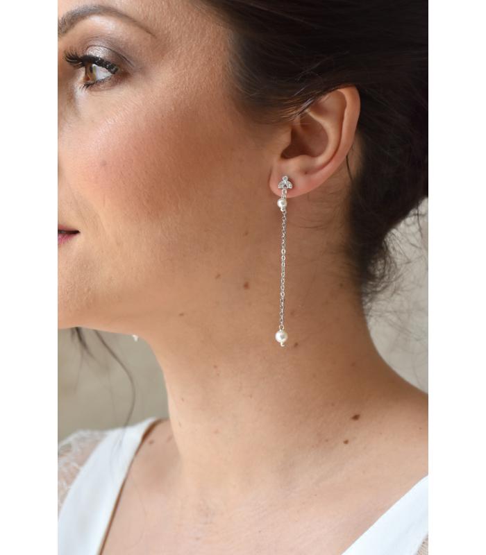 Boucles d'oreilles mariée Denise pendantes en chainette et perles nacrées