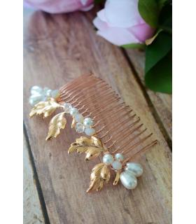 Peigne de mariage Ilma avec des perles et feuilles rose gold