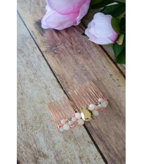 Peigne à cheveux pour la mariée dans les tons de rose gold, modele Kassia bijoux mariage