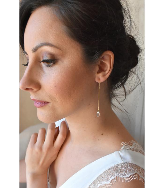 Bijoux mariage minimaliste boucles d'oreilles avec très fine chaine et gouttes de cristal