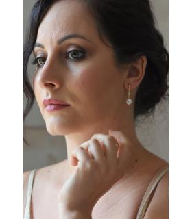 Bijoux mariage - Boucles d'oreilles pour la mariée avec une perle nacrée et un strass