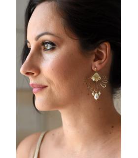 Boucles d'oreilles mariage Sirène de style art déco, dorées et perles blanches