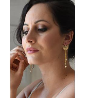 Ginkgo - Boucles d'oreilles de mariage pendantes avec feuille de ginkgo dorée