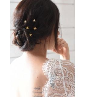 5 pics à cheveux Pistil - fleurs et perles