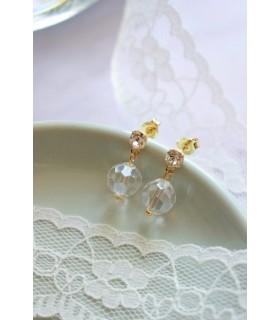 Boucles d'oreilles Osmose peu pendantes et transparentes pour la mariée