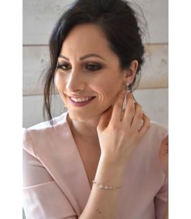 Bijoux mariage bracelet perles et strass avec fine chaine