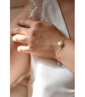 Bracelet de mariée Palet perle nacrée avec chaine