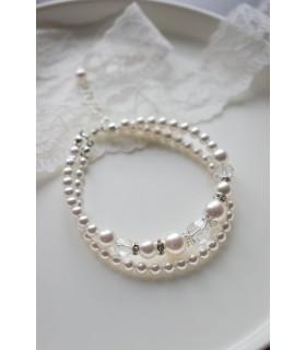 Bracelet de mariée Célia rétro vintage en perles nacrées 2 rangs.
