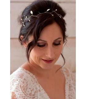 Vigne de cheveux headband pour la mariée, modèle Hortense, avec perles et feuilles