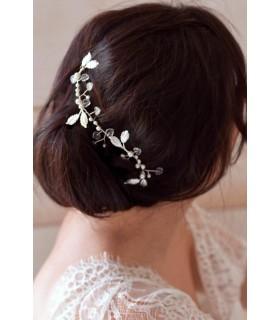Ornement de cheveux Tokyo de style celtique et féérique, avec petites feuilles transparentes et perles nacrées