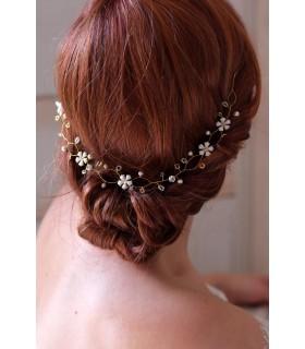 Headband Bianca avec perles et fleurs blanches