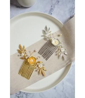 Peigne Louison pour la mariée avec fleurs et feuilles d'un style bohême