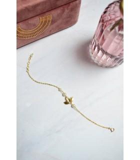 Bracelet de mariée Zen avec des feuilles dorées et perles pour la mariée bohème.