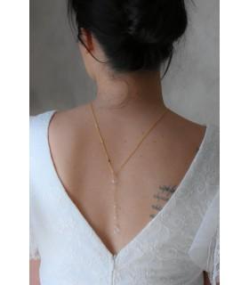 Bijou de dos mariage tout en perles transparentes modele Clémence