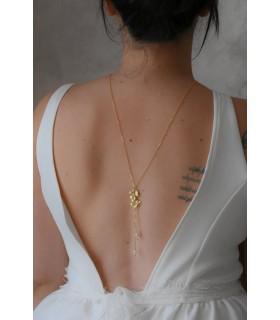 Collier pour robe dos nu à fleurs Bouton d'or