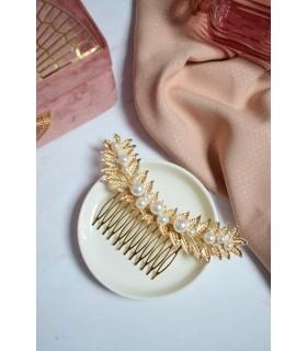 Peigne pour chignon avec grande feuille et perles Boho