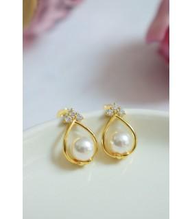 Boucles d'oreilles de mariée non pendantes modèle Reine en forme de goutte avec petites perles