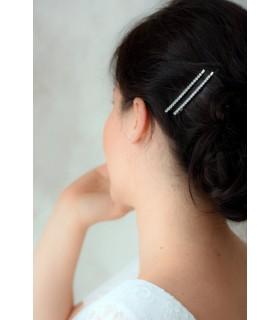 Pinces à cheveux mariage strass Salma - Lot de 2