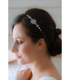 Headband mariage Andromède avec perles, feuilles et cristaux