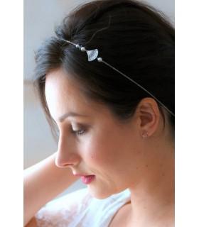 Headband mariage Thilda avec estampe éventail et perles de cristal