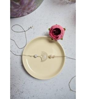 Headband mariage Valse avec éventail, perles et cristaux swarovski