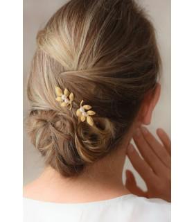 pince à cheveux feuilles dorées pour mariage