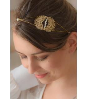 headband de mariage Jakarta doré avec des perles et estampes croissant de lune