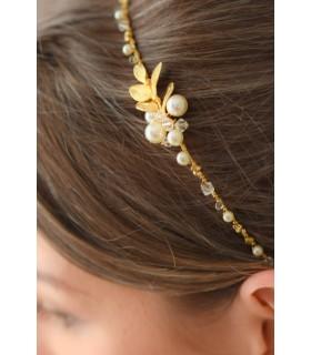 Serre tête mariage Bohème avec perles et feuille