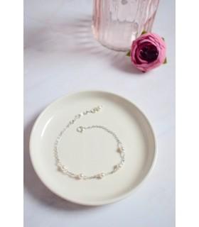 Bracelet de mariée fine chainette et perles en cristal swarovski