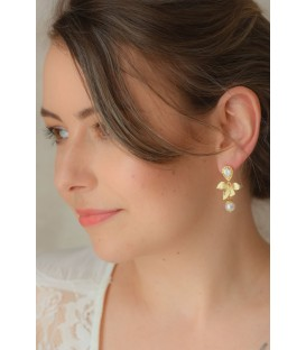 Boucles d'oreilles Solstice avec fleur d'orchidée et perles pour mariage