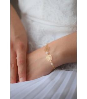 Bracelet Phaline avec estampes et perles nacrées pour la mariée