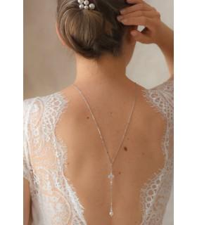 Collier de dos pour mariée avec perles opales - Vana