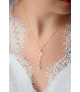 Bijoux mariage - Collier de mariée Phaline avec estampes et perles nacrées en cascade