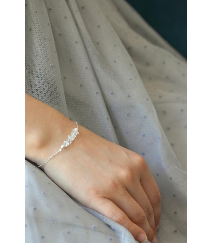 Bracelet cristal de roche & argent 925