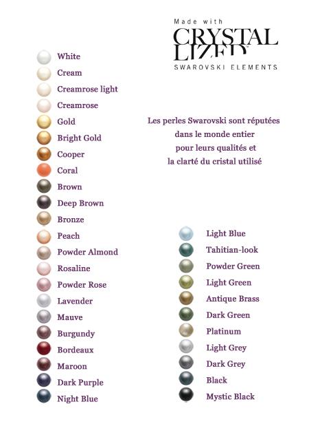 perles nacrées de couleur nuancier swarovski