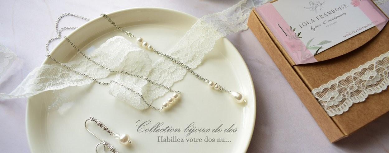 Bijoux de dos mariage Lola framboise